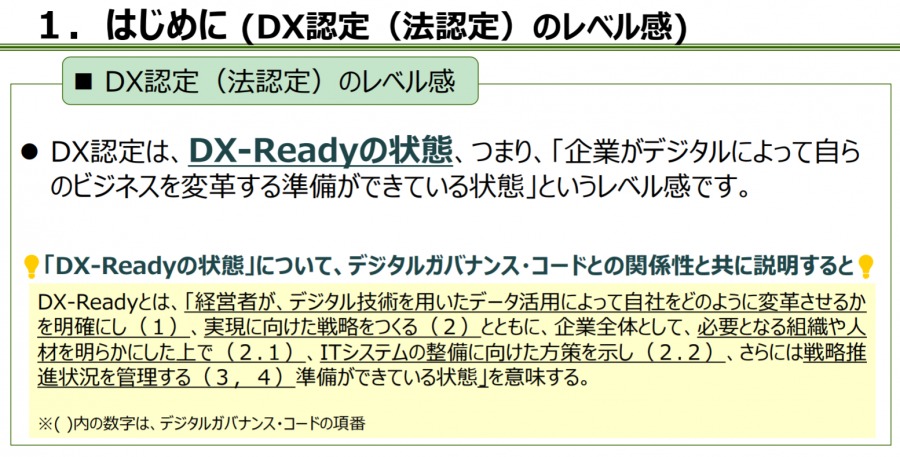DX認定(法認定)のレベル感